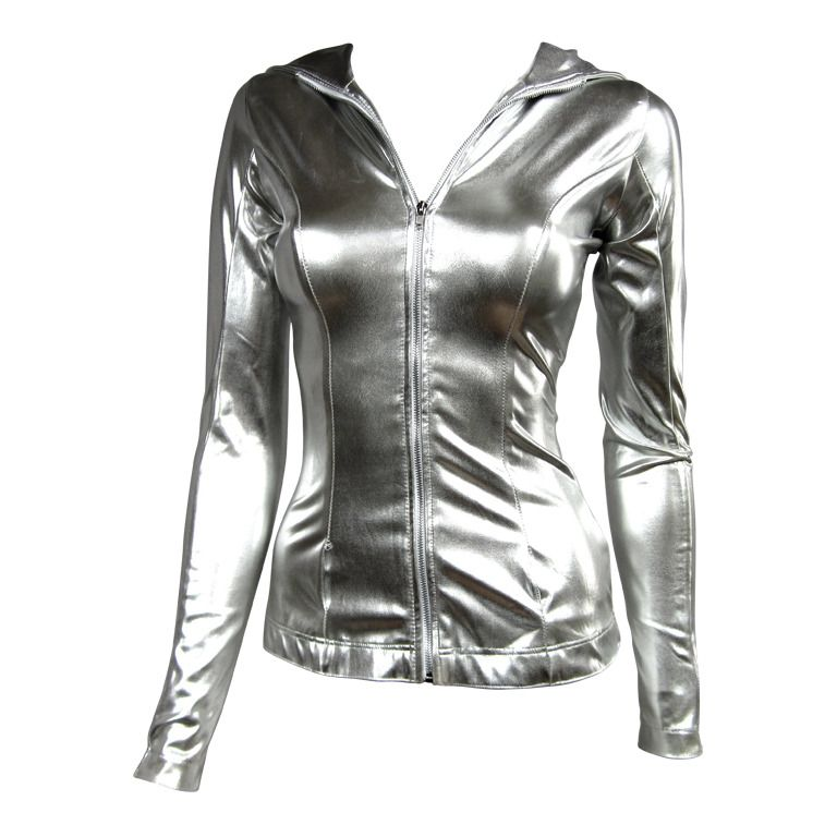 Norma Kamali Silver Metallic Hoodie 1980s From A Collection Of Rare Vintage Jackets At Http Www 1stdibs Com Fashion Clo Fashion Norma Kamali 1980s Fashion