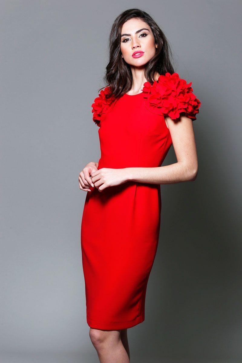 1f81452ce vestido de fiesta rojo corto con mangas de alas con flores para boda evento  coctel graduacion comunion bautizo de primavera verano en apparentia  collection ...