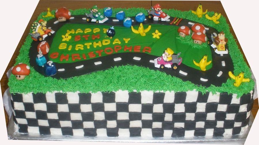 Mario Kart Race Track Cake Race Track Cake Mario Birthday Party Go Kart Party