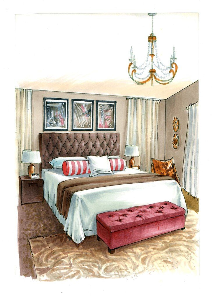 Bedroom Drawing: Interior Design Drawings, Interior Design