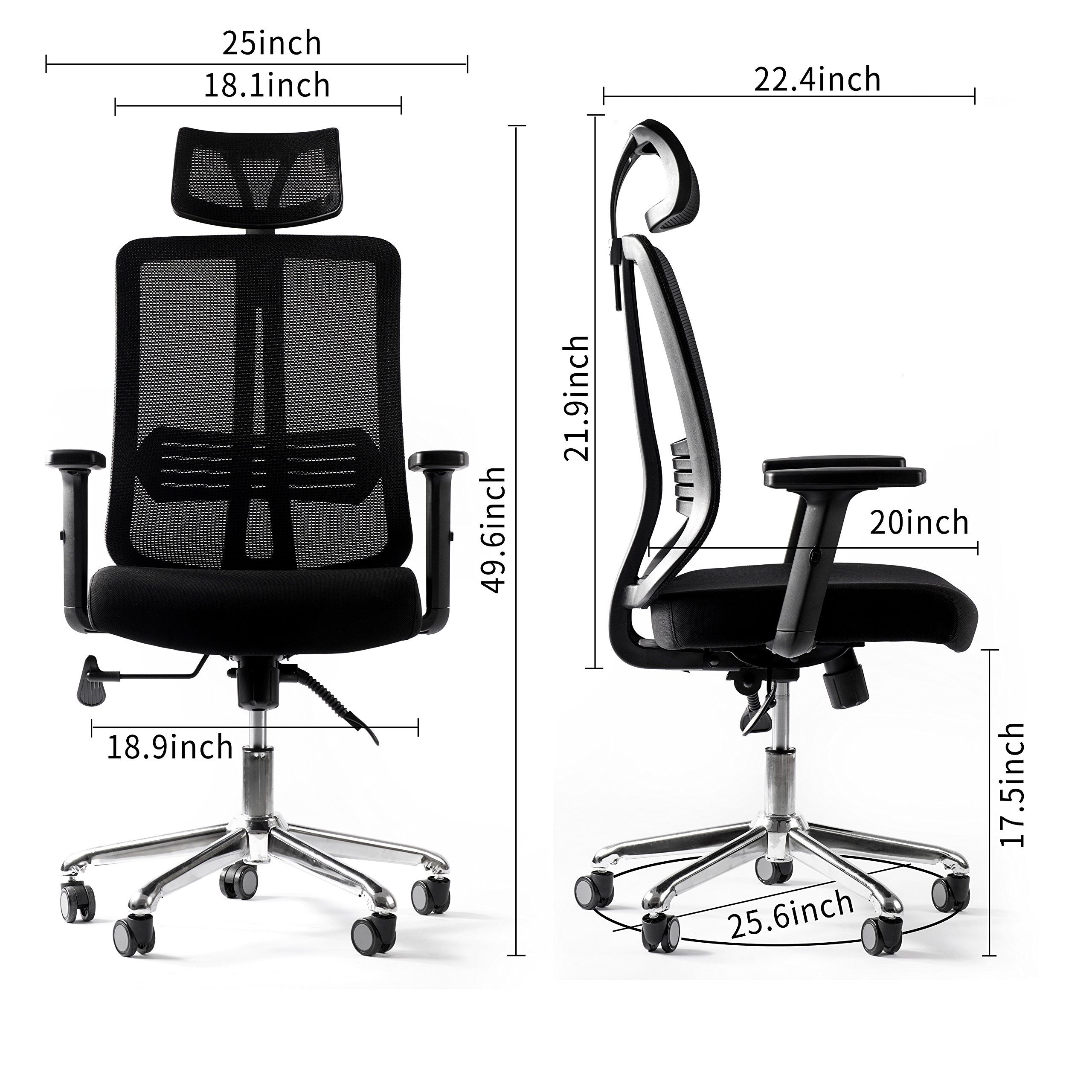 WINMI Modern High Back Ergonomic Office Chair Seat Height Swivel