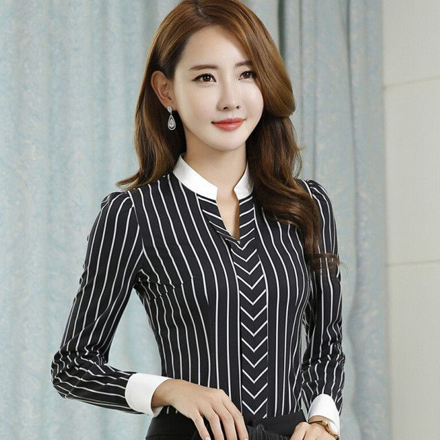 b0fb7823cb9 New OL fashion V-neck stripe blouses women elegant slim formal long sleeve  chiffon shirt