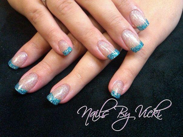 blue French Tip Nail Designs   Aqua-Blue Glitter Tips Nail Art ...