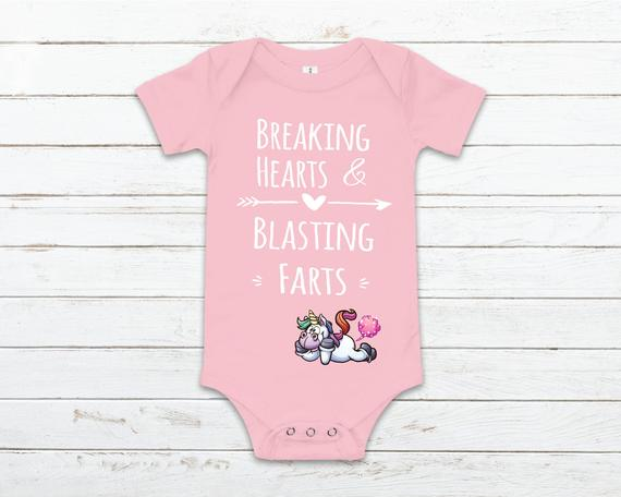 4c9c2dcb6 breaking hearts and blasting farts, funny baby clothing, unicorn baby  shower gift, baby boy clothes,