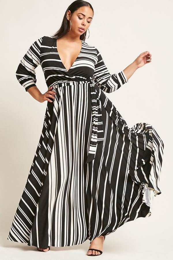 8521371099 FOREVER 21+ Plus Size Striped Maxi Dress
