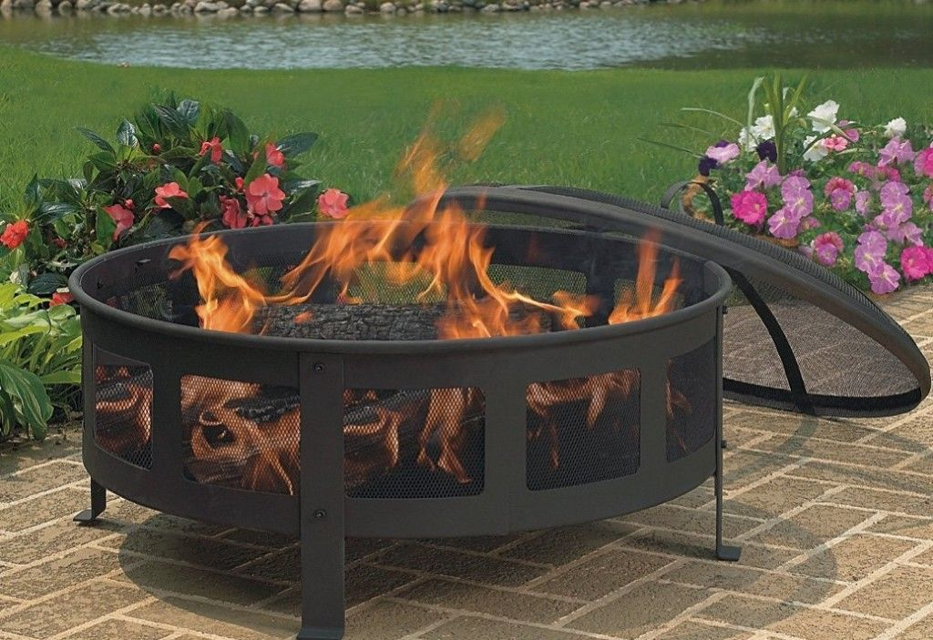 Round Portable Fire Pit Outdoor Fire Pit Backyard Campfire Pit
