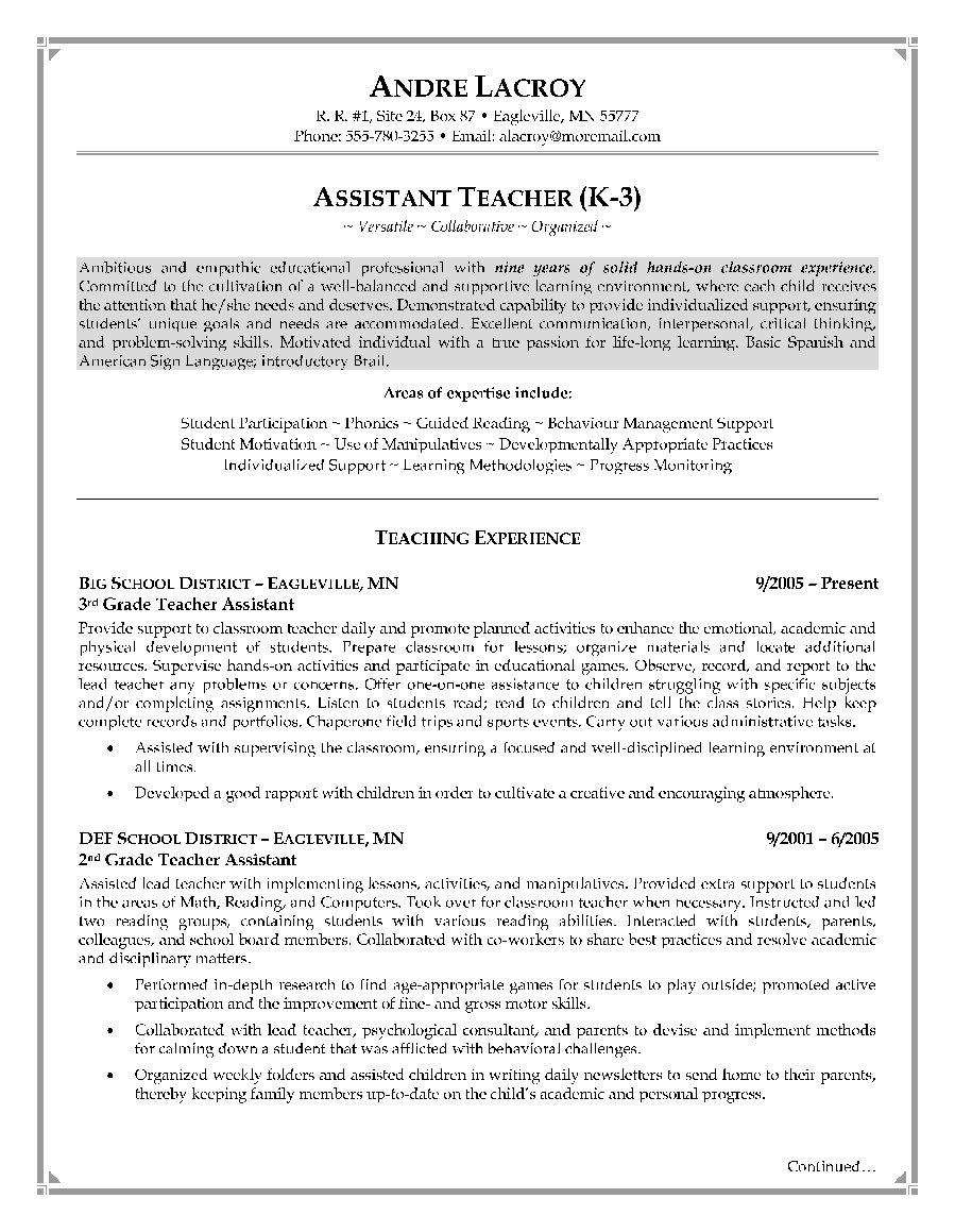 Teacher Aide Resume Teacher Assistant Resume Sample  Httpjobresumesample617
