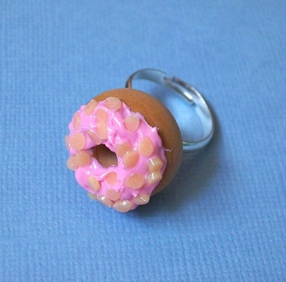 Delicious Strawberry Donut with Almond Slices  by yifatiii on Etsy, $13.50