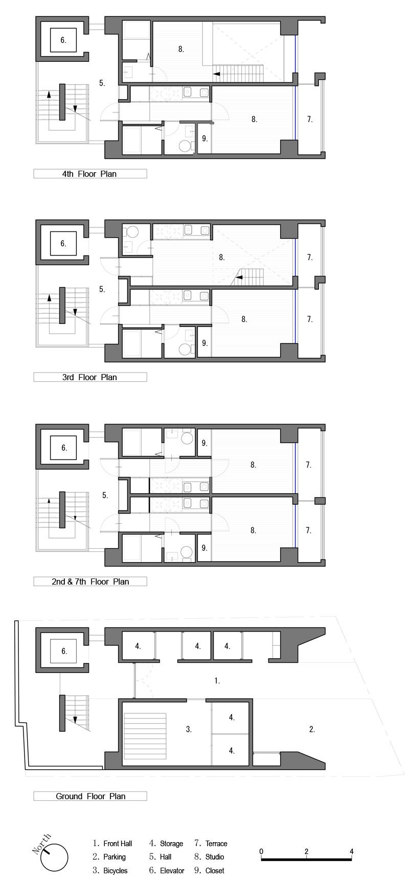 Studio Apartment Elevations apartment in katayama ~ elevation, section and floor plans | what