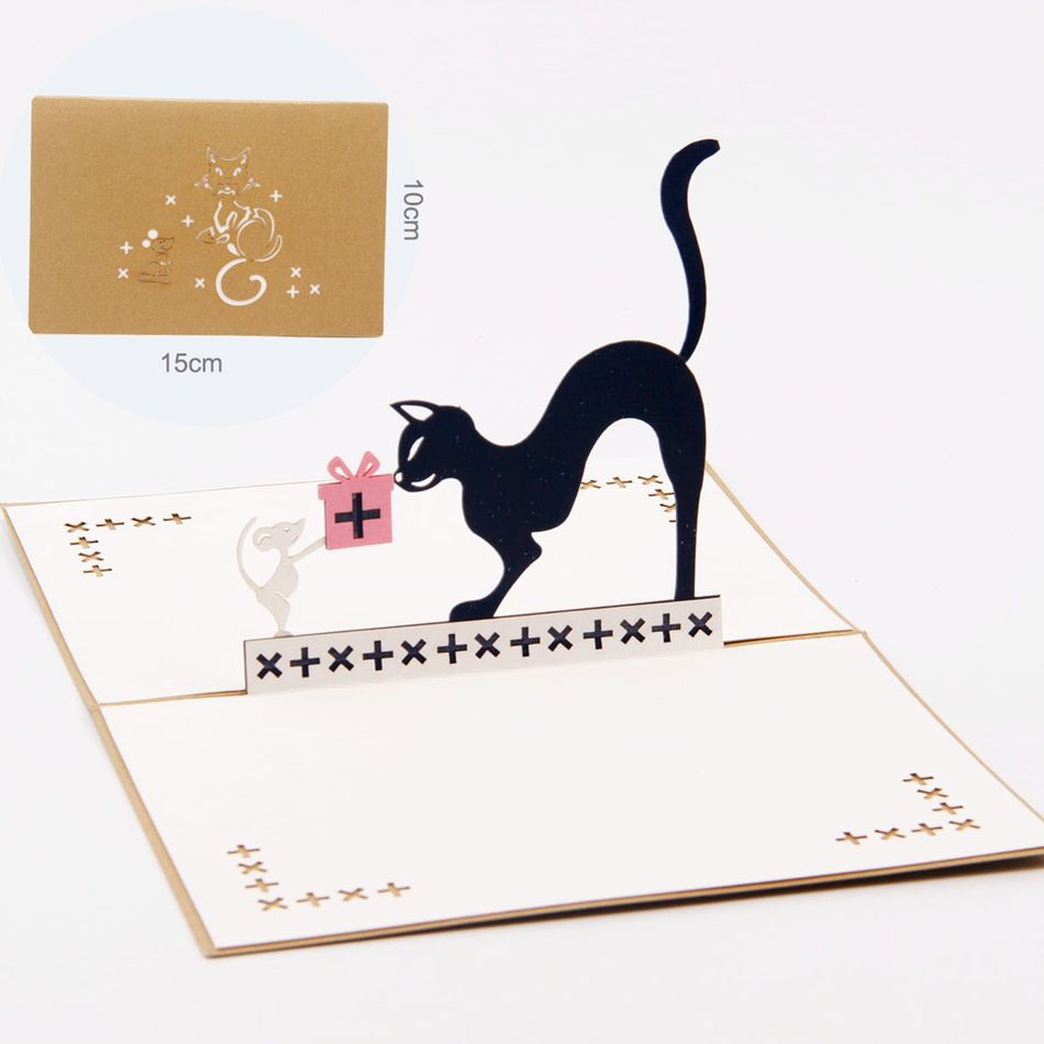 Cat With Gifts Kirigami Origami Paper Arts And Crafts 3d Laser Cut