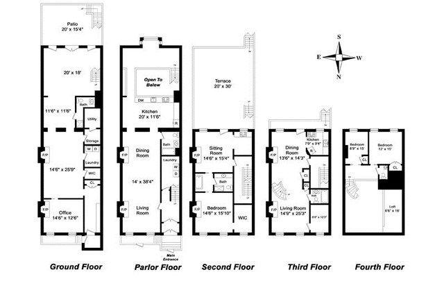 New York Townhouse Floor Plans Floor Plans New York Townhouse Nyc Brownstone
