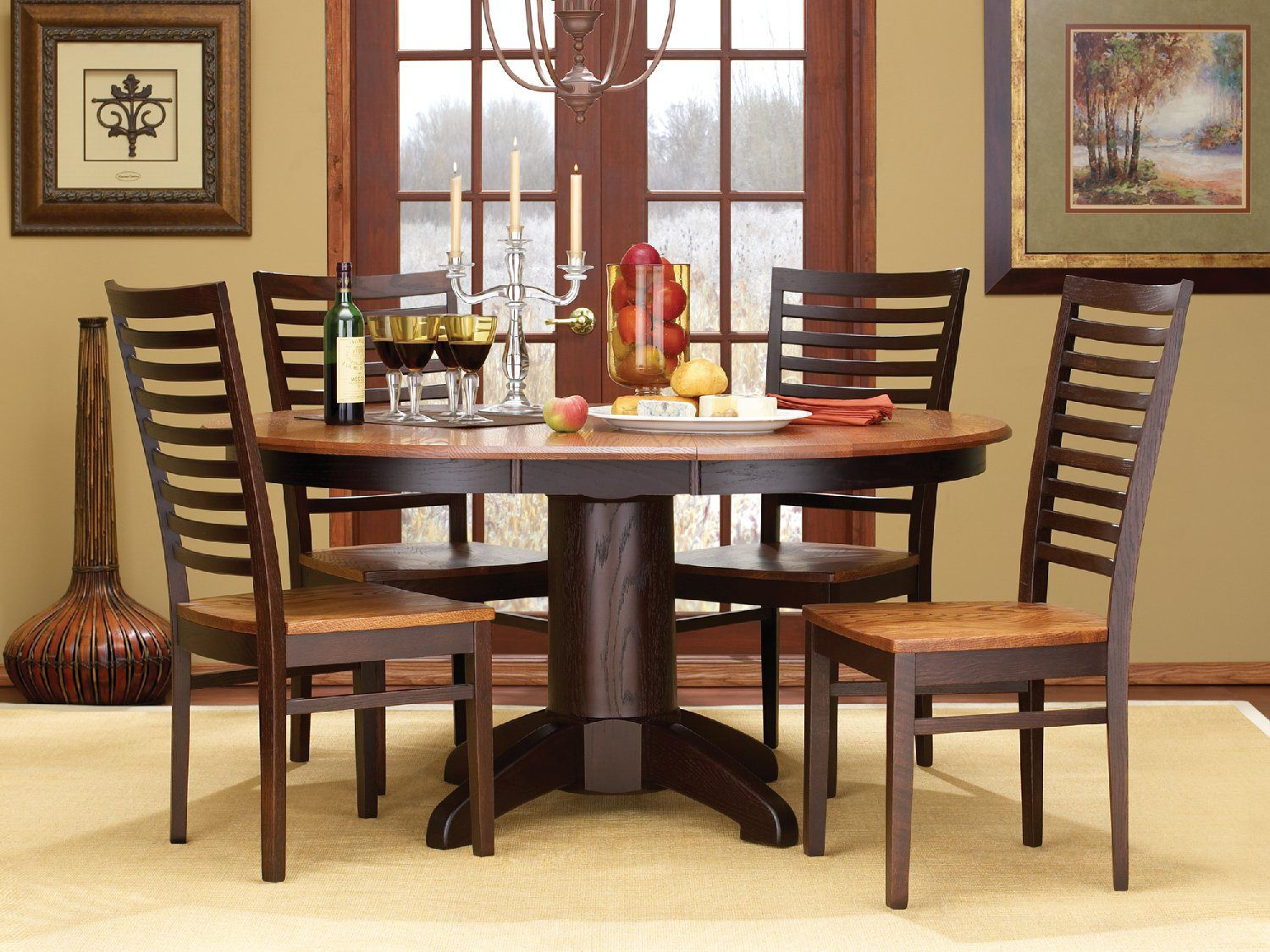 Phenomenal Amish Craftsmen Tuscany Round Dining And Side Chairs House Home Interior And Landscaping Mentranervesignezvosmurscom