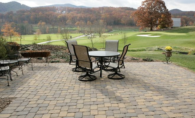 Beautiful Fall View From This Pavestone Plaza Stone Patio