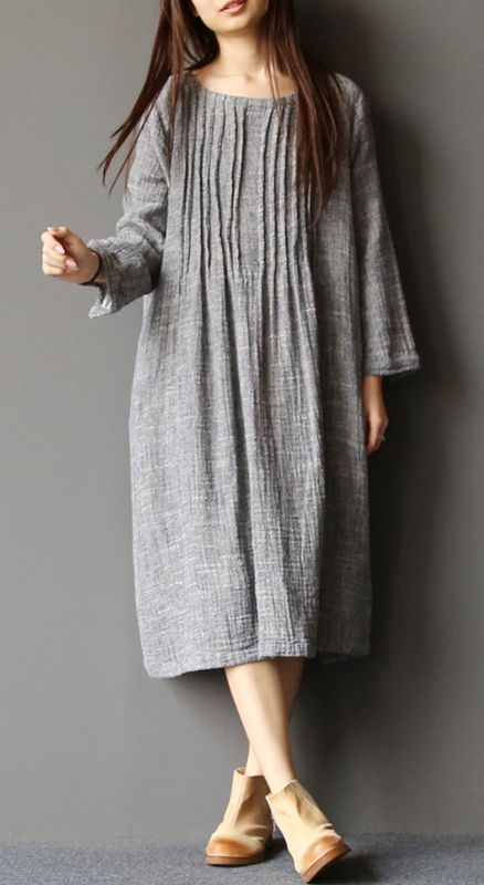 2017 spring light gray linen dresses plus size pleated ...