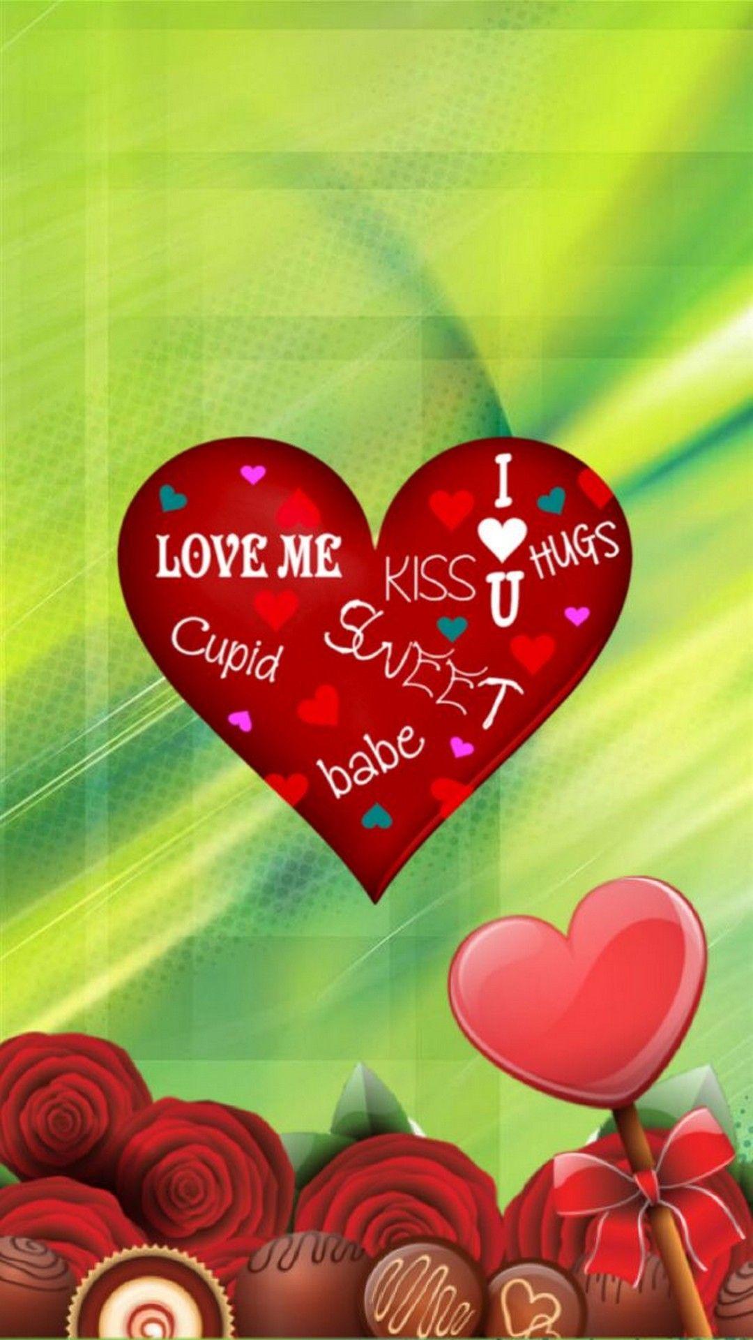 iPhone X Wallpaper Happy Valentine Day Hearts