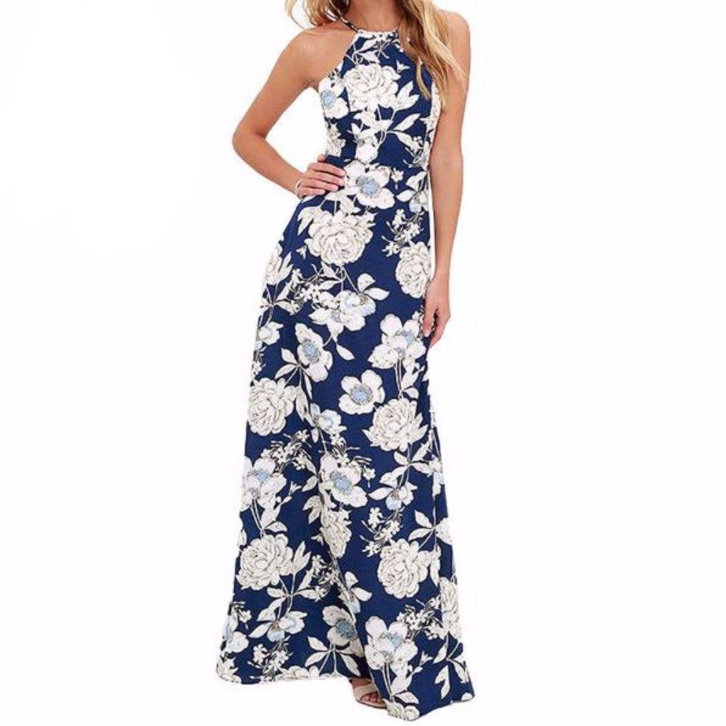 Summer Flower Print Halter Neck Women Boho Maxi Dress #blacksleevelessdress
