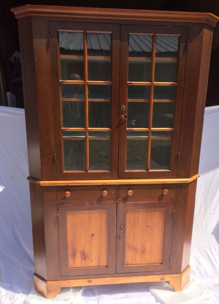 2 Pc ANTIQUE Corner Cupboard Glass Doors 2- Draws Cherry/Pine 77