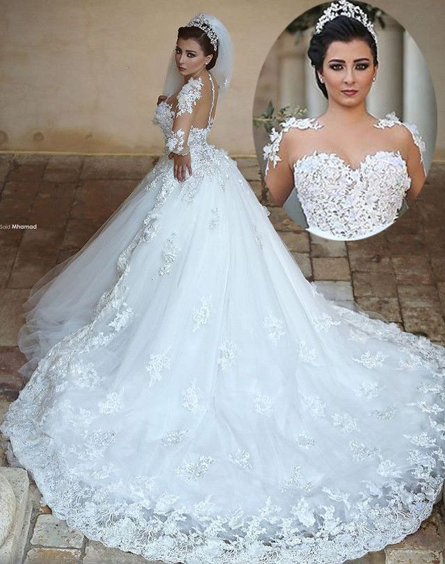 Princess Long Wedding Dress Sheer Neck Long Sleeves Ball Gown Chapel ...