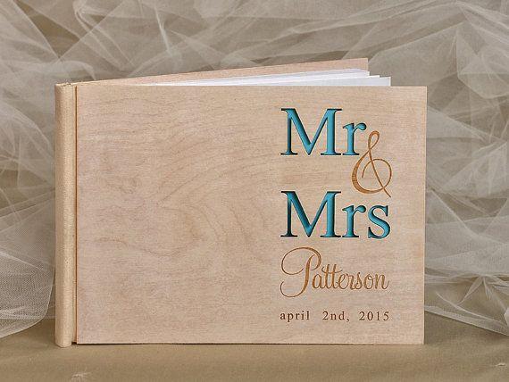Custom Wood Wooden Wedding Guest Book Modern Timber Guestbook