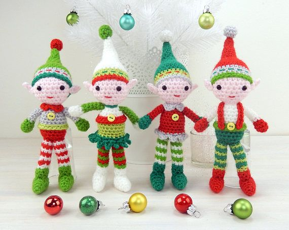 christmas elf quartet amigurumi crochet pattern available in english language only christmas is