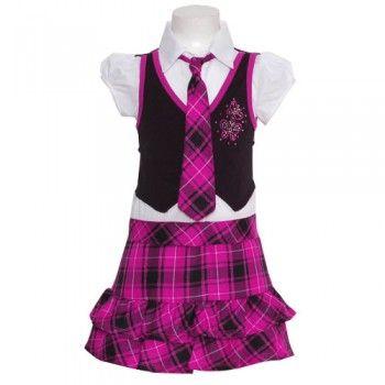 Fuchsia Plaid Skirt Cropped Vest Tie Fall Dress Little Girls 4-6X ...