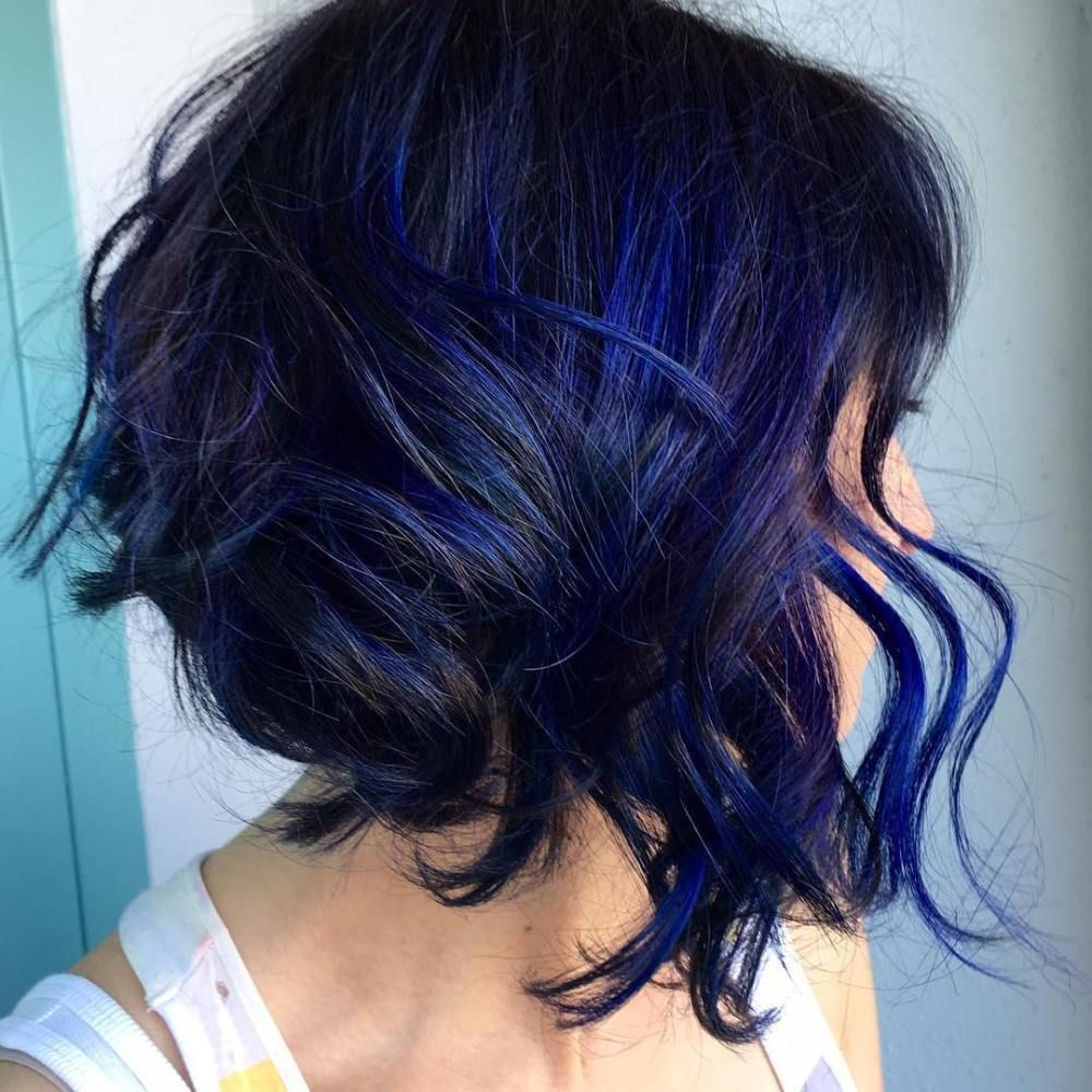 20 Dark Blue Hairstyles That Will Brighten Up Your Look Blue Hair Highlights Hair Styles Blue Hair
