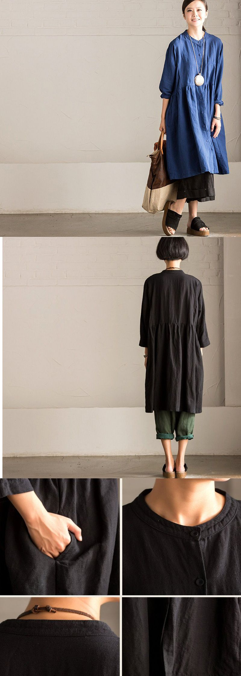 Retro cotton linen loose dress.Bohemian style for buykud dresses