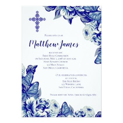 Elegant Cross and Floral Communion Invitation - invitations custom unique diy personalize occasions