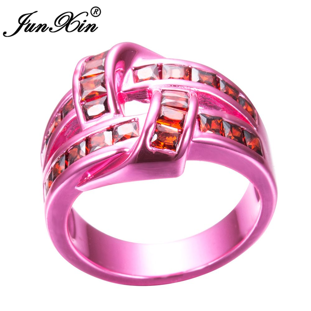 JUNXIN Female Red Geometric Ring Fashion Style Pink Gold Filled ...