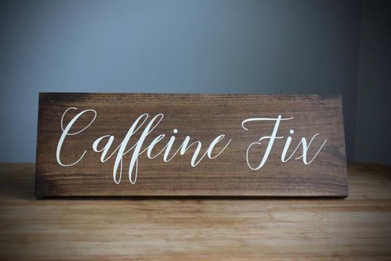 Photo of Caffeine Fix Rustic Coffee Nook Sign, Gift for Coffee Lover, Caffeine Addict, Espresso Bar Wedding S
