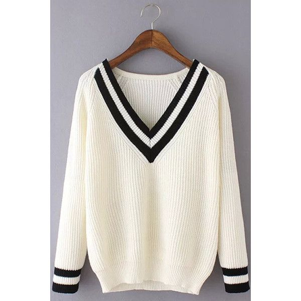 White Striped V Neck Long Sleeve Pullover Sweater (€23) ❤ liked on Polyvore featuring tops, sweaters, white, white v neck top, long sleeve pullover sweater, white tops, long sleeve pullover and white long sleeve top