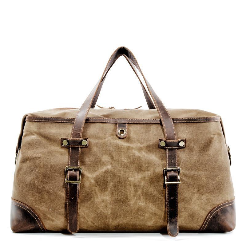 Men/'s Large Waterproof Waxed Canvas /& Leather Duffel Bag