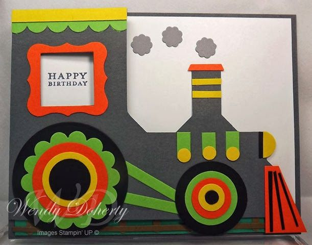 handmade birthday card from Stamping Styles ... punch art train in bright colors ... like it!! ...Stampin'Up!