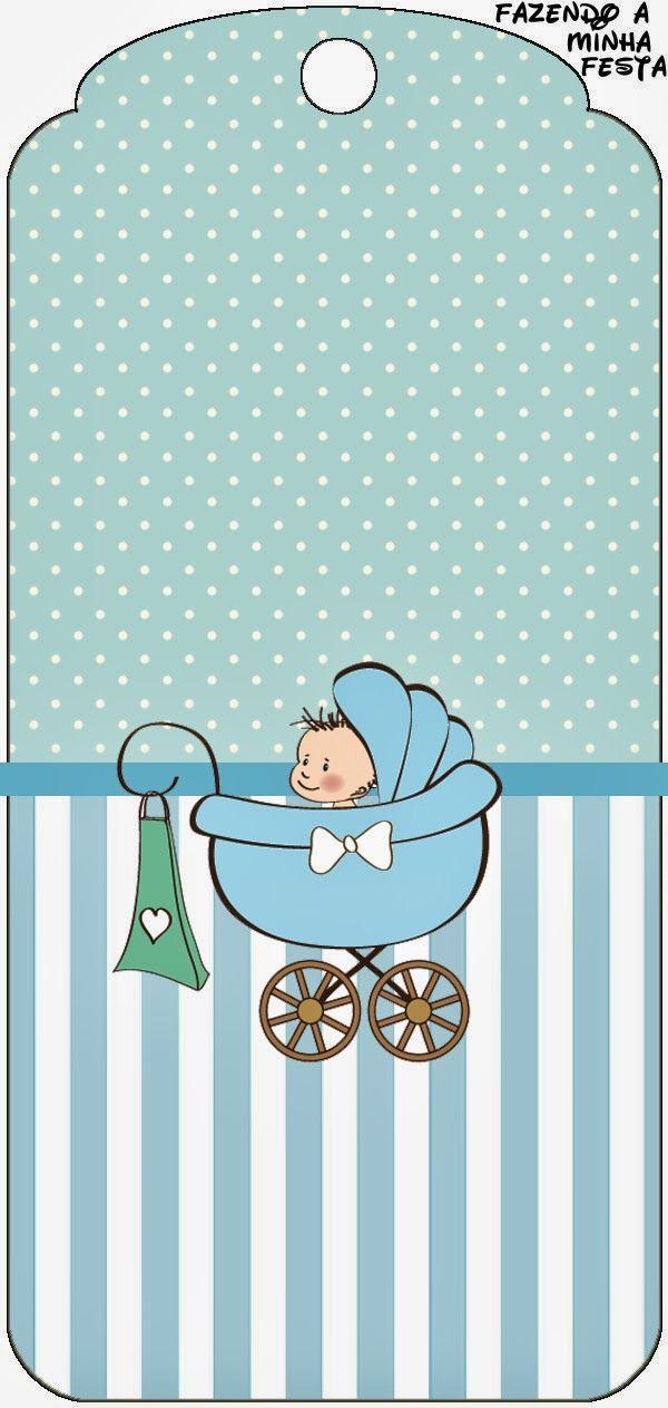 Cochecito Celeste De Bebe Imprimibles Gratis Para Fiestas Baby