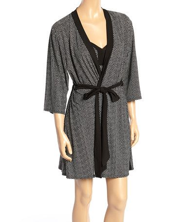 Love this Black Scribble Lace-Trim Chemise & Robe on #zulily! #zulilyfinds
