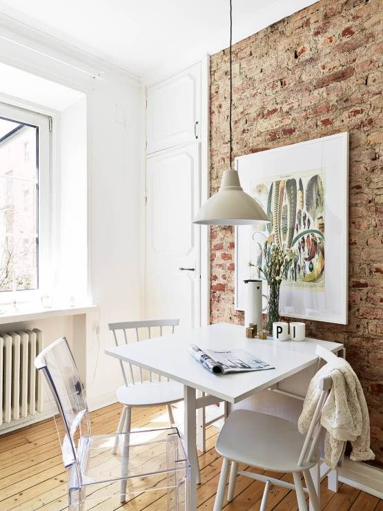 Cool Space w exposed brick wall Unique - Beautiful kitchen table against wall Inspirational