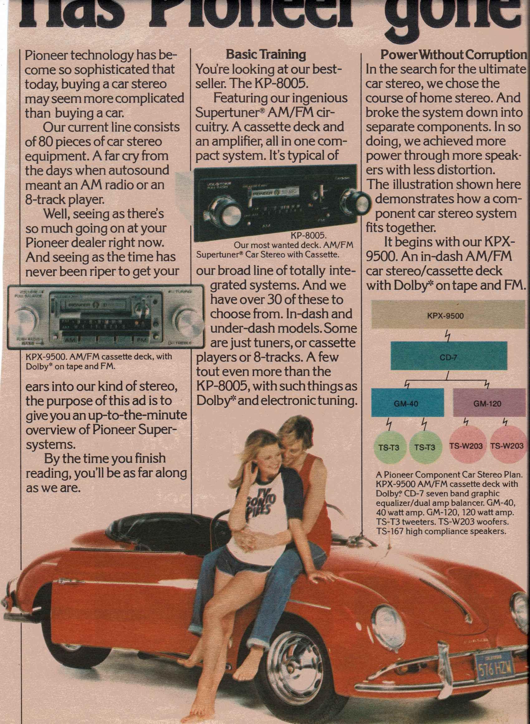 1979 Pioneer KPX9500, KP8005 cassette stereo Ad 1 (avec