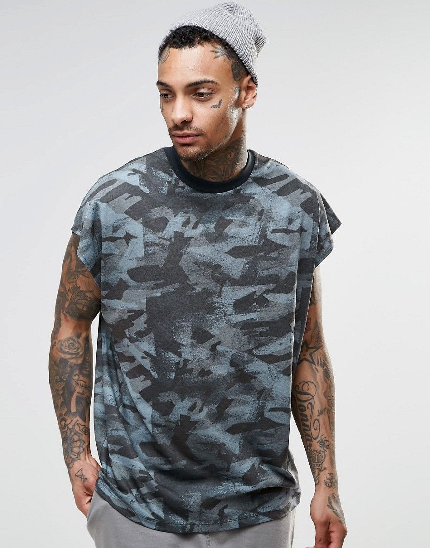 Image 1 of ASOS Oversized Sleeveless T-Shirt In Painted Camo With Wide Neck  Trim