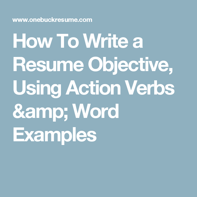 How To Write A Resume Objective Using Action Verbs Word Examples