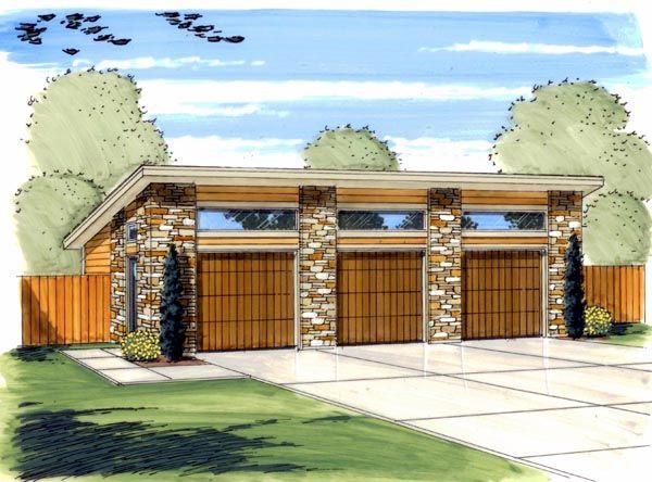 Traditional Style 3 Car Garage Plan Number 44139 #garageplans