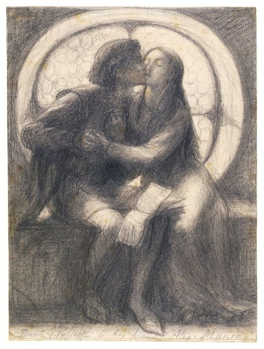 paolo and francesca doomed lovers from dante s divine comedy a graphite drawing dante gabriel rossetti