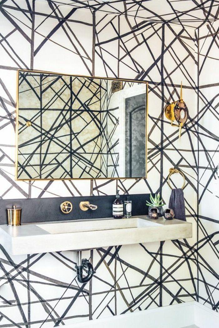le papier peint noir et blanc est toujours un singe d 39 l gance salles de bain modernes. Black Bedroom Furniture Sets. Home Design Ideas
