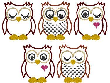 OWLs machine embroidery applique design
