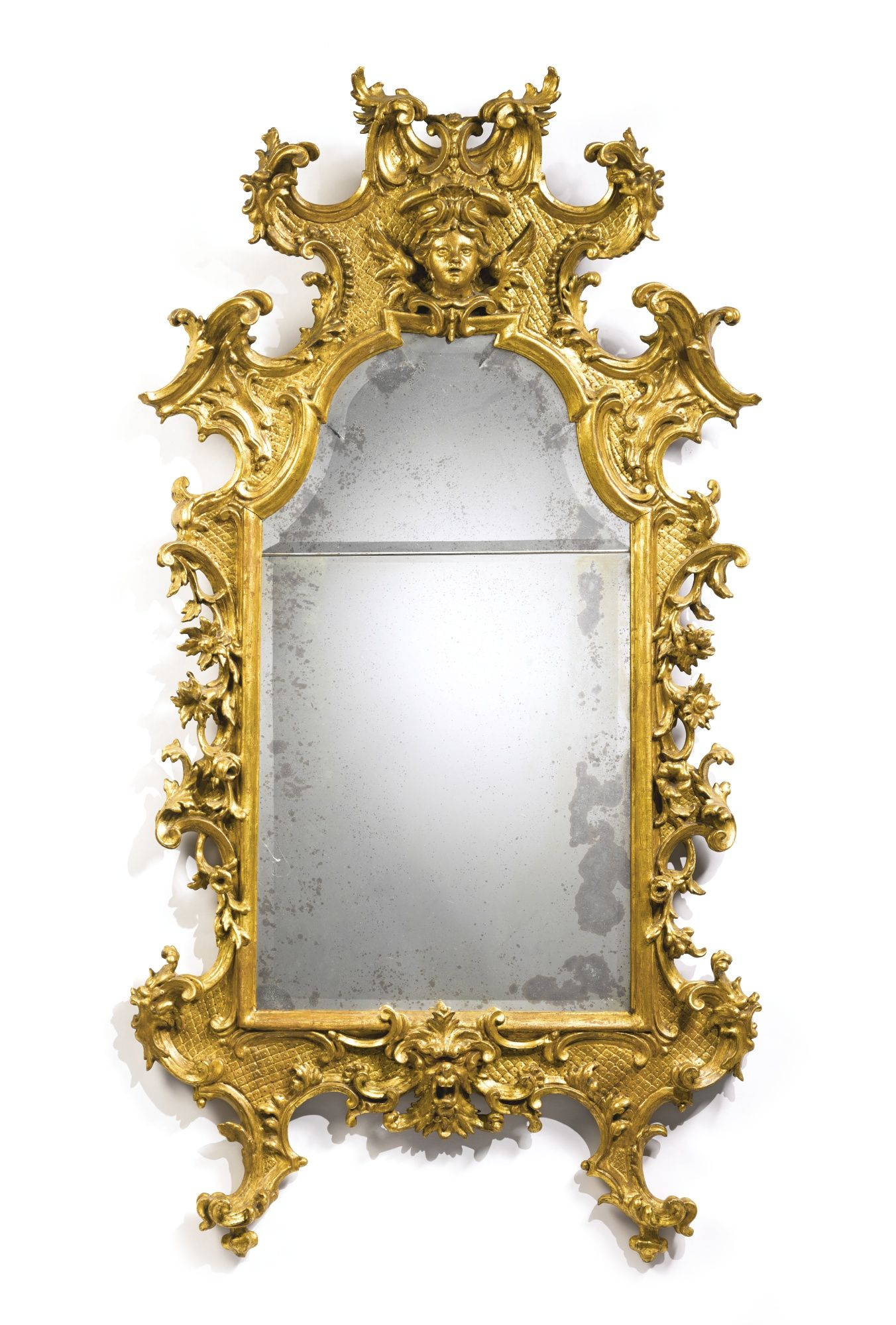 An Italian Rococo Carved Giltwood Mirror Probably Tuscany