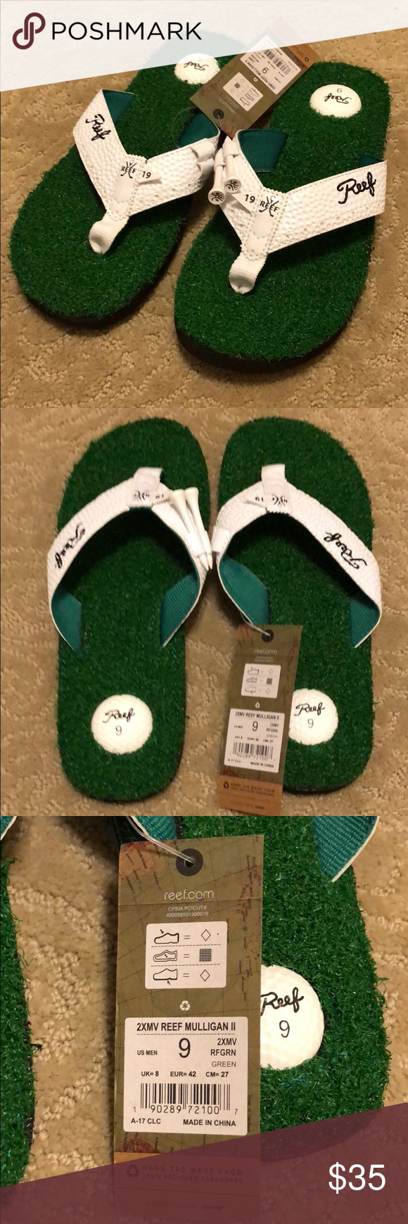 36751819ea67e REEF Mulligan Sandals. Men s size 9. New. Brand new Reef Sandals for the  golf lover. Bottle opener on the sole. Tee holders on top.