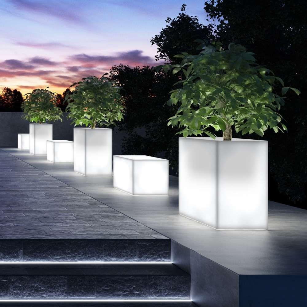 kube high 80 terassenbegrenzer / pflanzkübel mit energiesparlampe