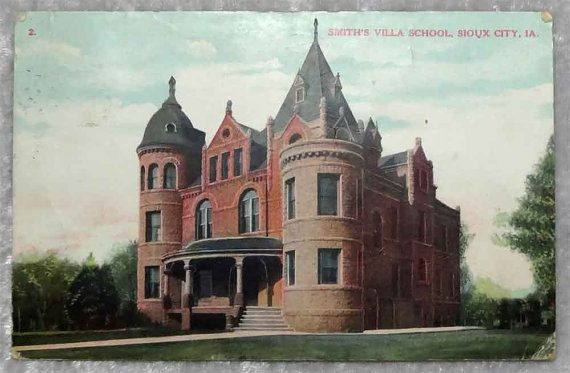 1908 Sioux City Ia Smiths Villa School Postcard Iowa Students