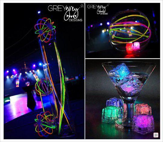 centre de table mariage lumineux glowstick baton lumineux glacon led