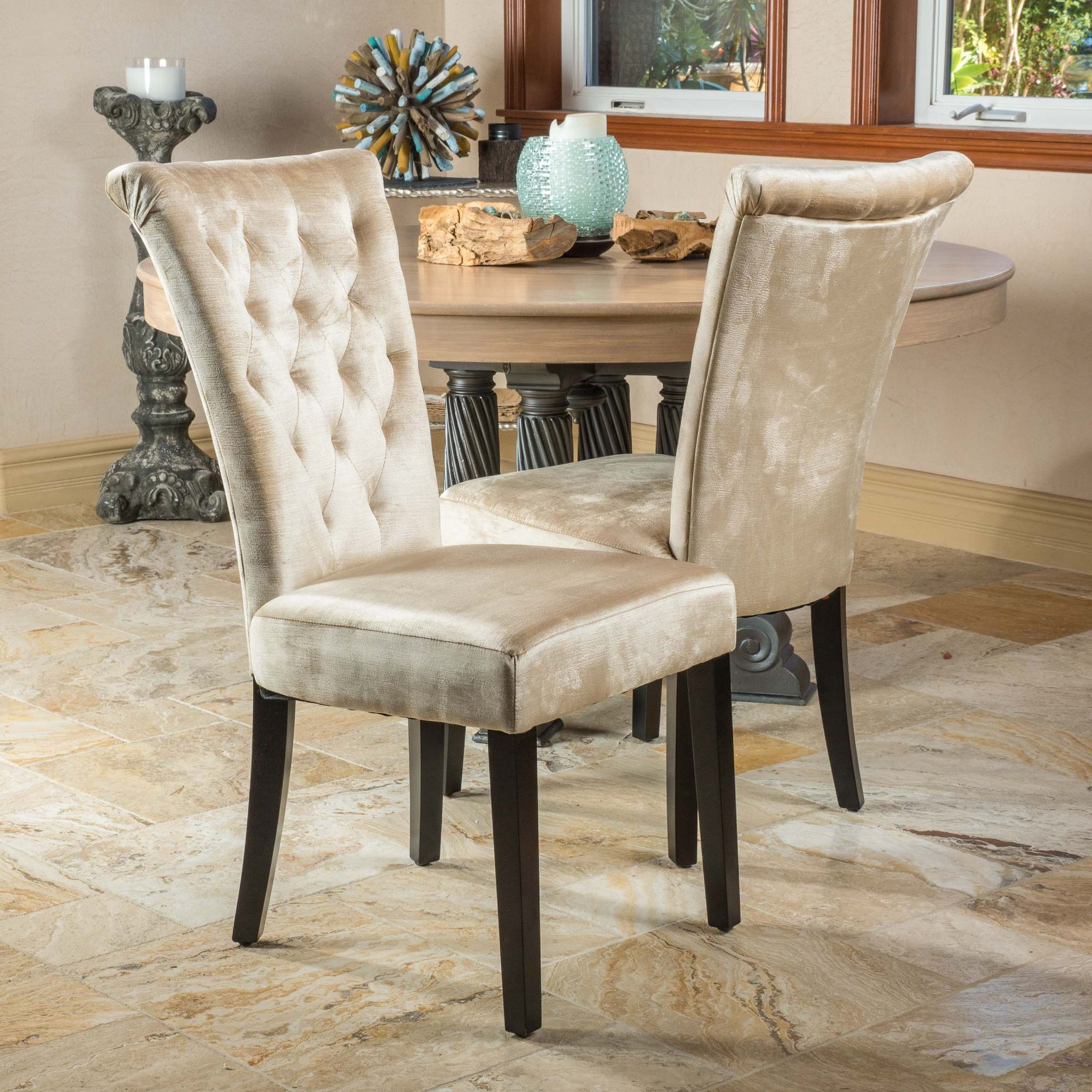 Paulina Champagne Velvet Dining Chairs Set of 2