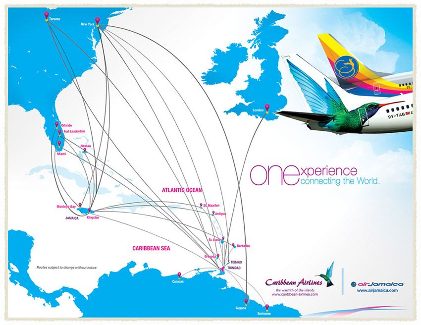 Caribbean Airlines route map PA COASTAL AIRWAYS CONSULTANTS Air